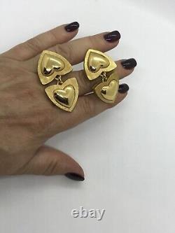 Fab! Vintage Escada Runway Couture Gold Plaqué Drop Heart Clip Sur Boucles D'oreilles