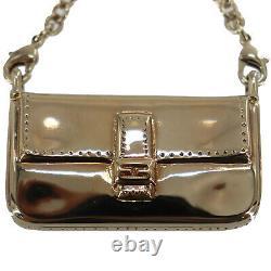 Fendi Keyring Bag Charm Gold Plaqué Metal Vintage Italie Authentic #oo385 O