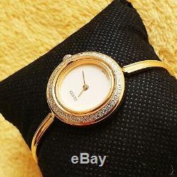 Gucci 11 / 12.2 18k Bangle Gp Montre Femme Avec Le Métal Diamond Cut Bezel (nr439)