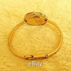 Gucci 11 / 12.2 18k Bangle Gp Montre Femme Avec Le Métal Diamond Cut Bezel (nr536)