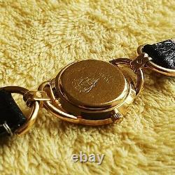 Gucci 6000l 18k Gold Plaqué Femme Montre Avec Cadran Noir (nr584)