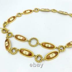 Gucci Belt Old Gold Gp Chain Oval Logo Plate Authentique