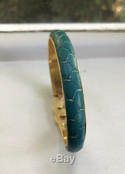 Gucci Bracelet Vintage, 24 Kt Snakeskin. Plaqué Or, Couleur Turquoise
