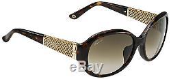 Gucci Gg 3706 / F / S Lunettes De Soleil Ovales Pour Femmes Tortoise Havane Marron Plaqué Or Gg3706