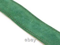 Gucci Shelly Line Belt Waist Mark Suede Leather Gold Plaqué Vert Italie 70-28