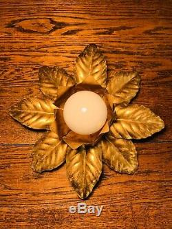 Hans Kogl Véritable Plaqué Or Métal Flush Light Flower Vintage