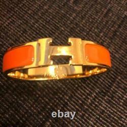 Hermes CLIC Clac H Bracelet Bangle Cuff Orange Enamel Or Plaque Utilisée Non Box