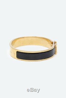Hermes CLIC Clac H Bracelet Manchette En Métal Émaillé Avec Plaque Émaillée Noir Gm