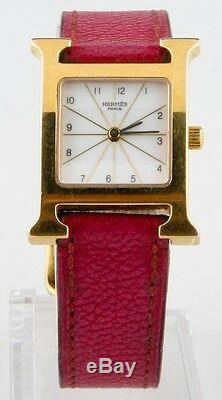 Hermès H Femmes D'or Heure Plaqué De Quartz Avec Bracelet En Cuir Rose Original