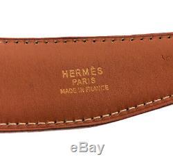 Hermes Noir Réversible Marron Ceinture En Cuir Plaqué Or H Boucle