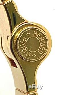 Hermes Paris France Or Authentique Plaqué Émail Bracelet De Femmes Hinged