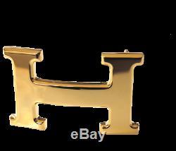 Hermes Plaqué Or Jaune Brillant Boucle H 32mm, Nouveau
