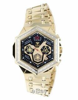 Hommes Aqua Maître Hexagone Forme 47mm Plaqué Or Cadran Noir Diamond Watch W # 356