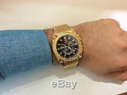 Hommes Aqua Maître Jojo Jojino Joe Rodeo Jaune Métal Band 46mm Diamond Watch W # 304