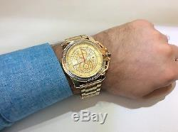 Hommes Aqua Master Jojo Jojino Joe Rodeo Bracelet En Métal Jaune Montre À Diamants 50mm L # 352