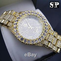 Hommes Hip Hop Iced Bling D'or Pt Bling Big Rapper Simulé Diamond Watch Métal