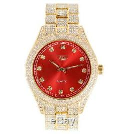 Hommes Ice Watch Bling Rapper Simuler À Diamants En Métal D'or Hip Luxe Cubique Rouge