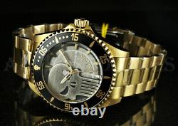 Invicta 44mm Marvel Punisher Limited Edition Skull Dial 18k Gold Plated Watch
