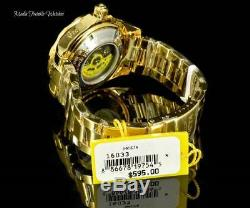 Invicta 47mm Grand-diver Automatique Blanc Mop Dial 18kgold Plaqué Bracelet