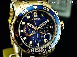 Invicta 48mm Men Pro Scuba Diver Chronographe En Or 18 Kt Plaqué Cadran Bleu