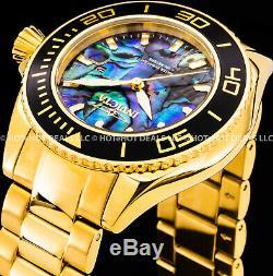 Invicta 48mm Mens Pro Diver Bleu Abalone Dial Plaqué Or 18k Ss Bracelet Montre