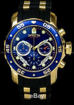 Invicta 48mm Mens Pro Scuba Diver Chronographe Cadran Bleu Plaqué Or Ss Pu Montre