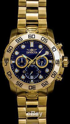 Invicta 50 MM Pro Diver Chronographe Cadran Bleu Plaqué Or 18k S S Bracelet