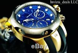 Invicta 52mm Venin Hommes Suisse Chronographe Cadran Bleu 18k Plaqué Or Ss Montre
