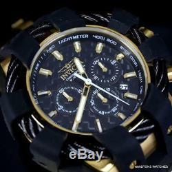 Invicta Bolt Sport Chronograph Fibre De Carbone Noir Plaqué Or 50 MM Montre Nouveau
