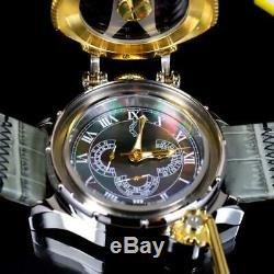 Invicta Chatham Et Dover Black Watch Mop Gris Or Cuir Plaqué Lefty 52 MM Nouveau