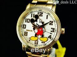 Invicta Disney 43mm Hommes Mickey Mouse Quartz Limitée Ed Plaqué Or 18 Carats Montre