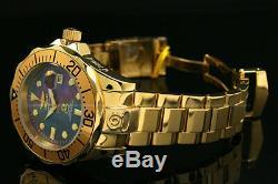 Invicta Grand Diver Automatique Noir Mop Cadran En Or 18 Carats Plaqué S. S Bracelet Montre