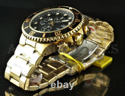 Invicta Homme 50mm Grand Diver Chronograph Black Dial 18k Gold Plated Ss Watch