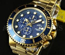 Invicta Homme 50mm Grand Diver Chronograph Blue Dial 18k Gold Plated Ss Watch
