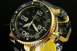 Invicta Hommes 52mm Grand-pro Diver Plaqué Or 18k Blak Dial Ss Black Bracelet