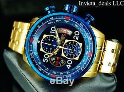 Invicta Hommes Aviator Chronographe Cadran Bleu Plaqué Or 18k Ss Bracelet Montre