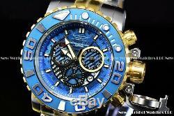 Invicta Hommes Sea Hunter III Pleine Mouvement Suisse Bleu Deux Tone Plaqué Montre
