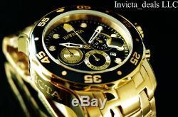 Invicta Men 48mm Pro Plongeur Chronographe Cadran Noir Plaqué Or 18 Carats Ss Montre