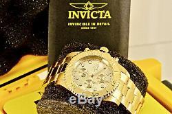 Invicta Men Pro Diver Plaqué Or 18 Carats Ss Chronographe Cadran Champagne $ 695 Montre