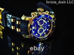 Invicta Mens 48mm Pro Plongeur Chronographe Cadran Bleu 18k Plaqué Or Ss Montre