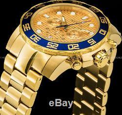 Invicta Mens Pro Diver Chronographe Or Bleu N 18k Plaqué Or Ss Bracelet Montre