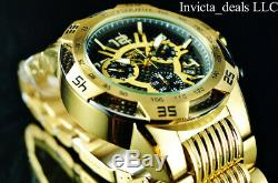 Invicta Mens Speedway Swiss Chronographe Cadran Noir Plaqué Or 18 Carats Ss Montre