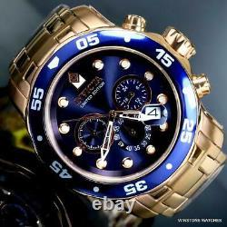 Invicta Pro Diver Scuba Rose Gold Plated Edition Limitée 48mm Bleu Montre Nouveau