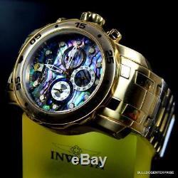 Invicta Pro Scuba Diver Abalone 18kt Plaqué Or Chronographe 48 MM Montre Nouveau