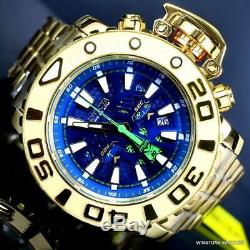 Invicta Sea Hunter Gen II Swiss High Steel Gold Plate Polonais 70mm Bleu Montre Nouveau