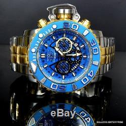 Invicta Sea Hunter III Bleu 70mm Pleine Suisse Movt Bicolore Plaqué Or Montre Nouveau