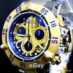 Invicta Subaqua Noma III Octopus Plaqué Or Suisse Mvt Bleu Acier De 50 MM Montre New