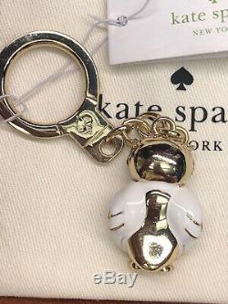 Kate Spade 12k Plaqué Or Ornée De Bijoux Hibou Porte-clés Clés Sac Fob Charm Or / Blanc