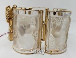 Lalique -paris Enfants Bracelet En Verre Panneaux Plaqué Or Gilt Métal 1990