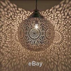 Lampes Luminaires Ventilateurs Celilng Suspension Abat-jour Marocaine En Laiton Plaqué Argent